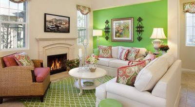 bright green accent wall ideas in living room