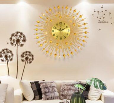 Gold Living Room Wall Clocks Ideas in Elegant Style