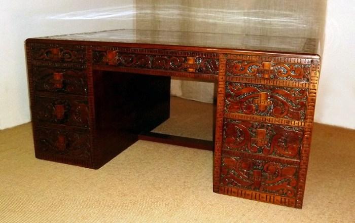 Inventive and Unique Carved Wooden Desk