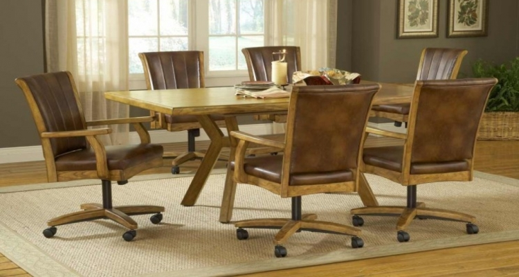 Wood Upholstered Kitchen Chairs with Casters
