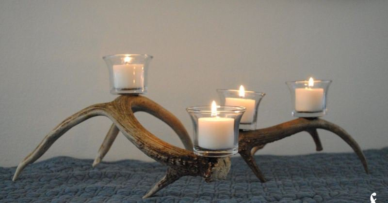 Antler fireplace candle holder
