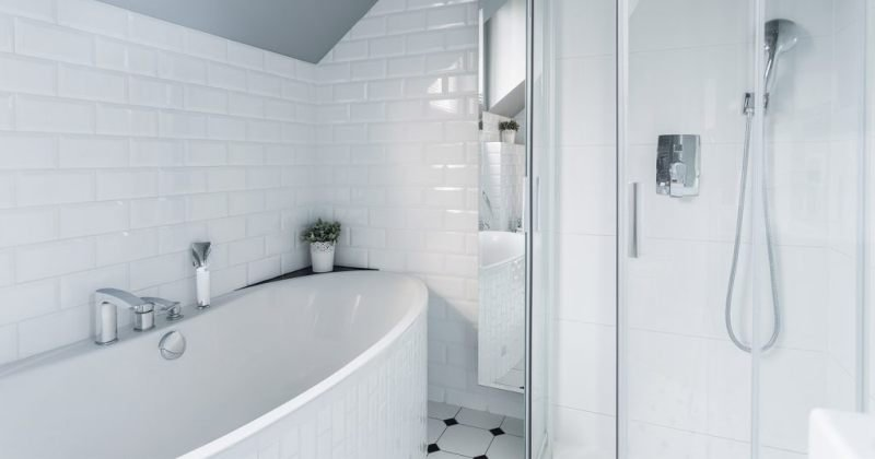Bathroom with half tile walls