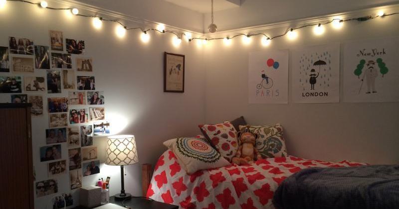 Bedroom wall string lights