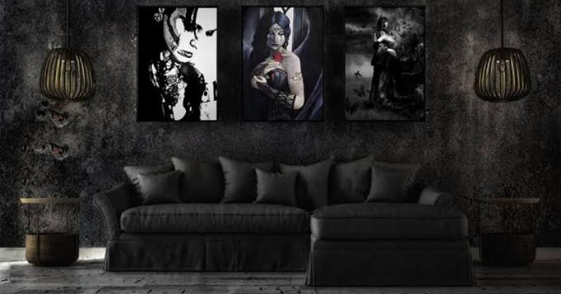 Black gothic living room