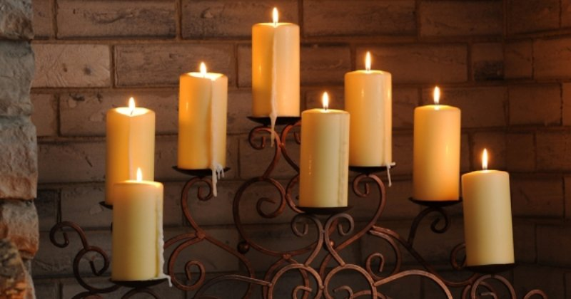 Candle holder for fireplace