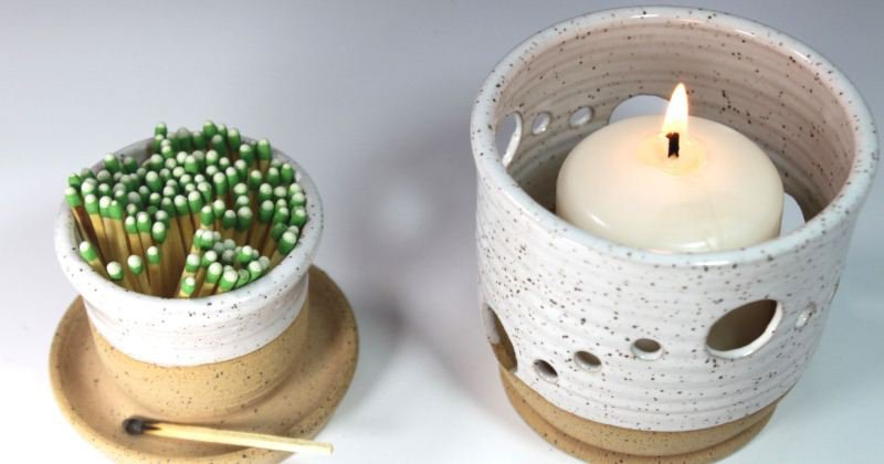 Ceramic fireplace candle holder