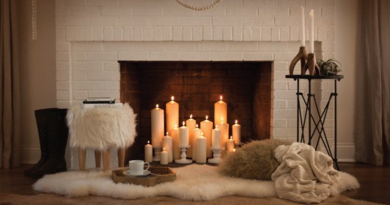 Fireplace candle holder target