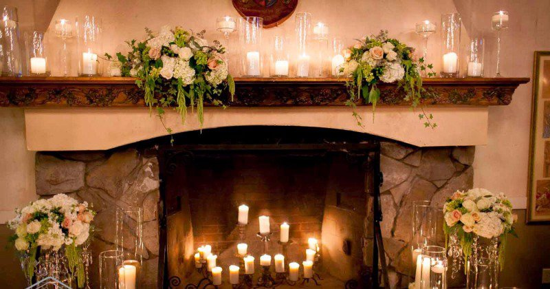 Fireplace mantel candle holder