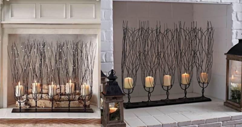 Fireplace pillar candle holder