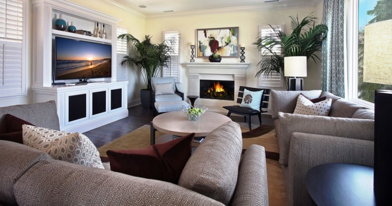 Furniture layout for family room