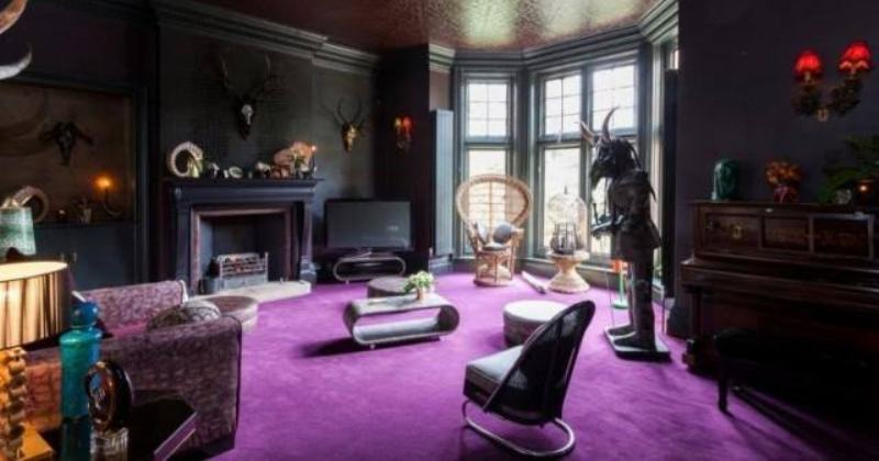 Gothic living room purple
