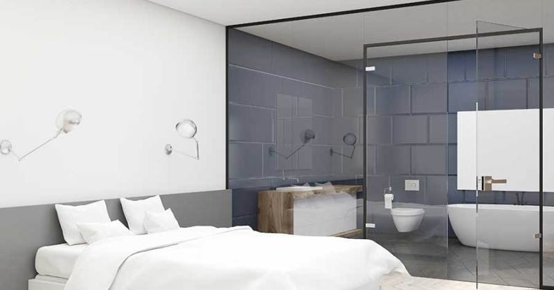 Half wall partition glass bathroom