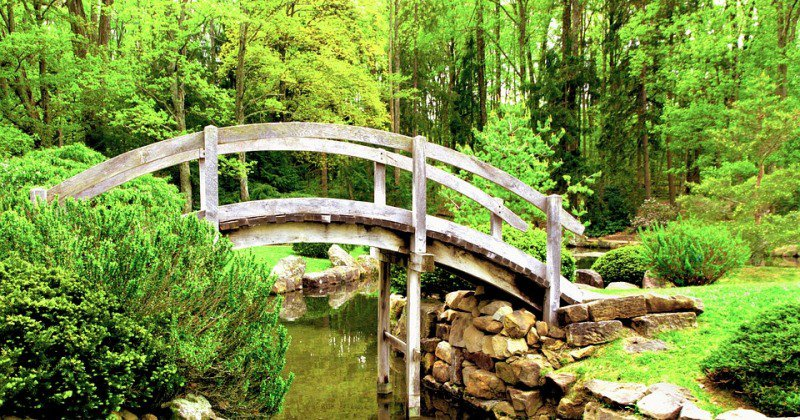 Japanese bridge garden ornament