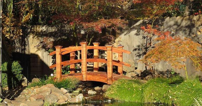 Outdoor wooden garden bridge