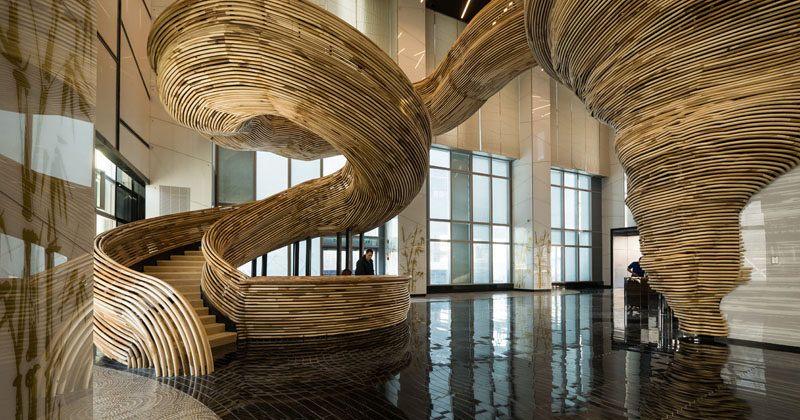 Sculptural spiral staircase