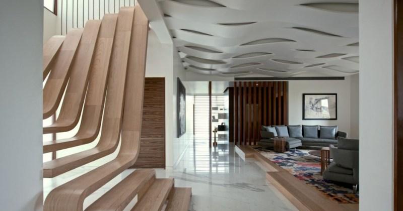 Sculptural staircase design modern