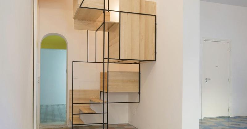 Sculptural staircase design tiles