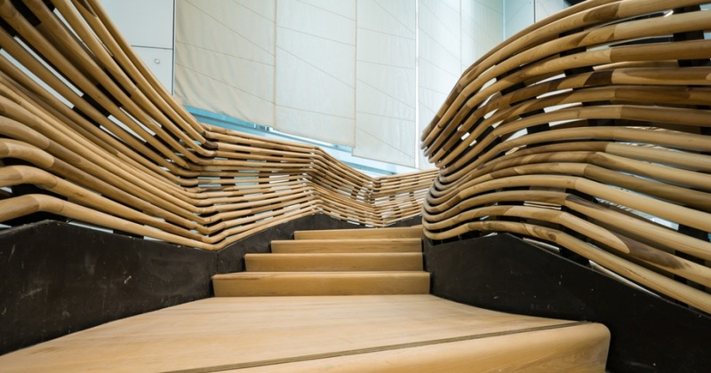 Sculptural staircase design wooden