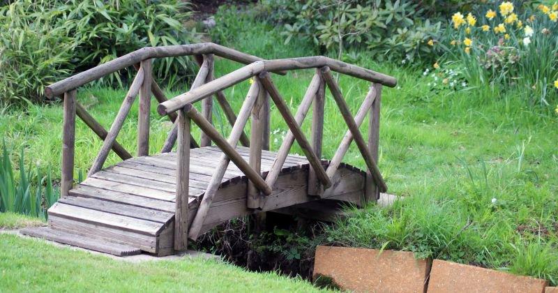 Small wooden decorative garden bridge