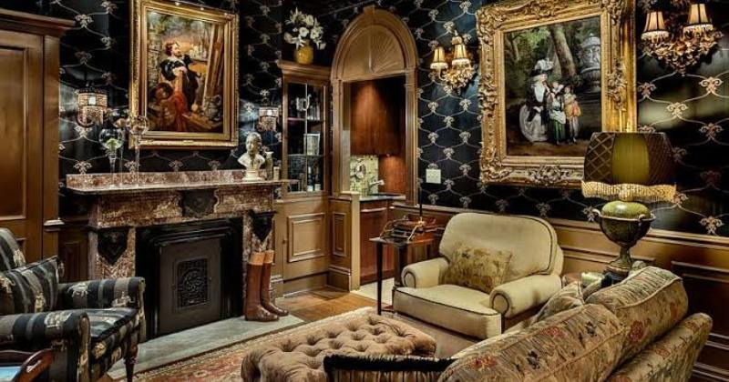 Victorian gothic style living room