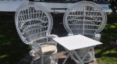 White Cane Peacock Chair