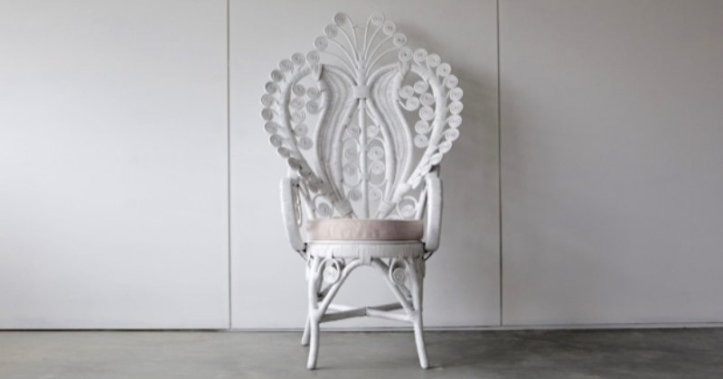 Whitewash peacock chair