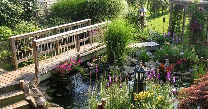 Wood garden bridge plan