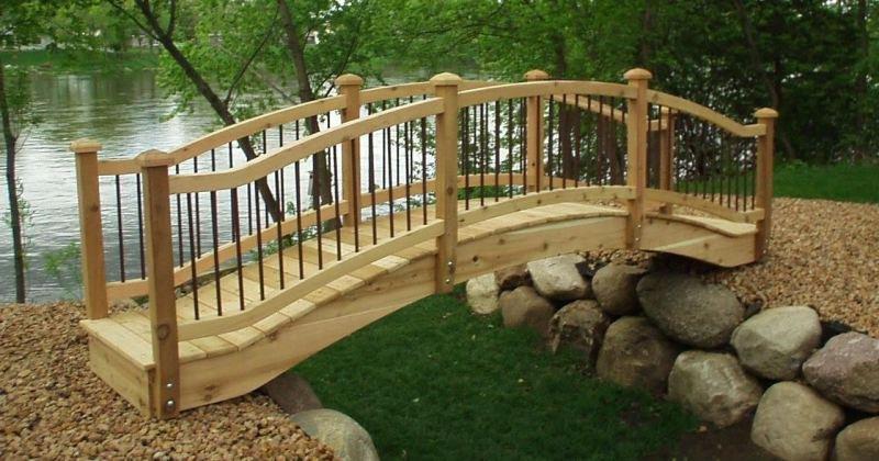 Wooden arched garden bridge plans