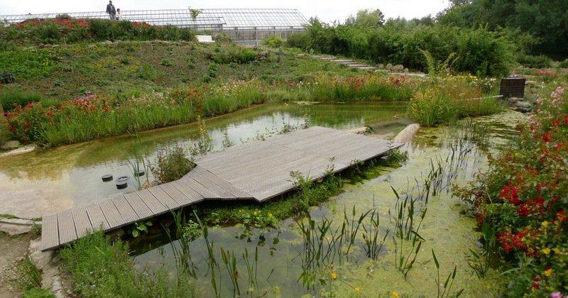 Wooden bridge for garden pond