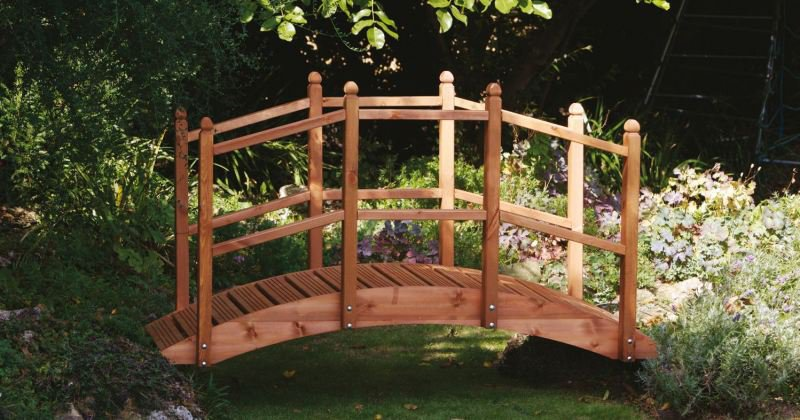 Wooden bridge garden feature