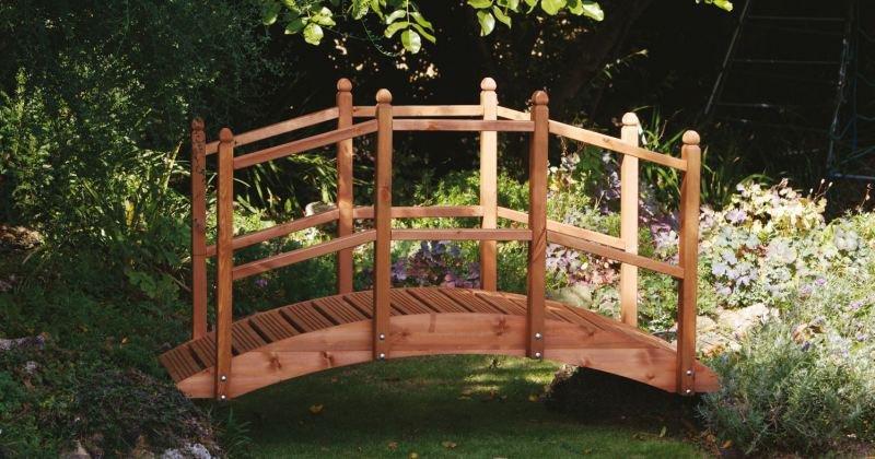 Wooden bridge garden feature