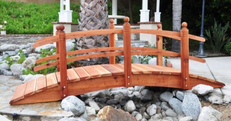 Wooden garden bridge design
