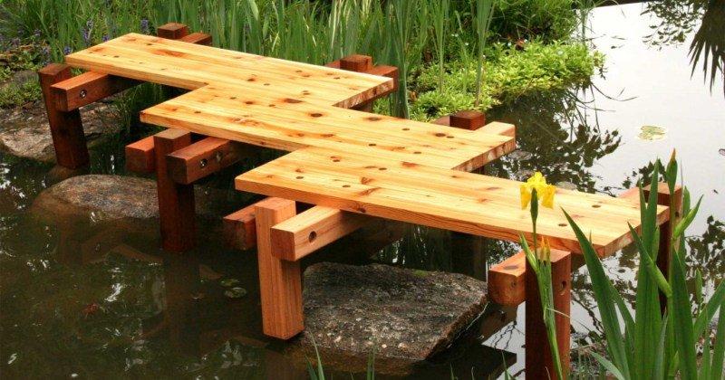Wooden garden bridge