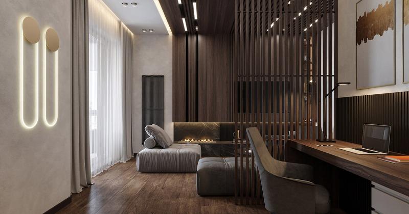Wooden slat walls