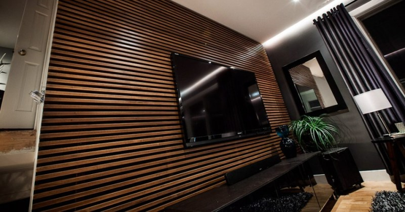 Wooden slatted walls