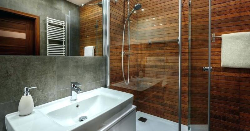 Wooden walls bathroom