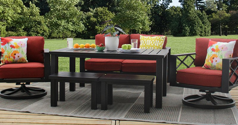 Aluminum outdoor dining set with bench