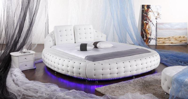 Bedroom design with round beds