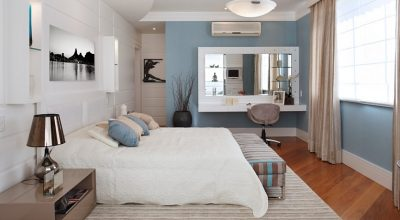 Blue & White Contemporary Bedroom