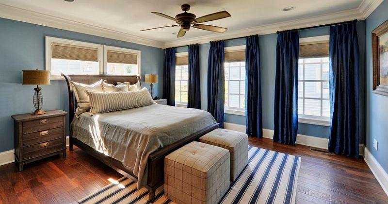 Blue and white curtains for bedroom