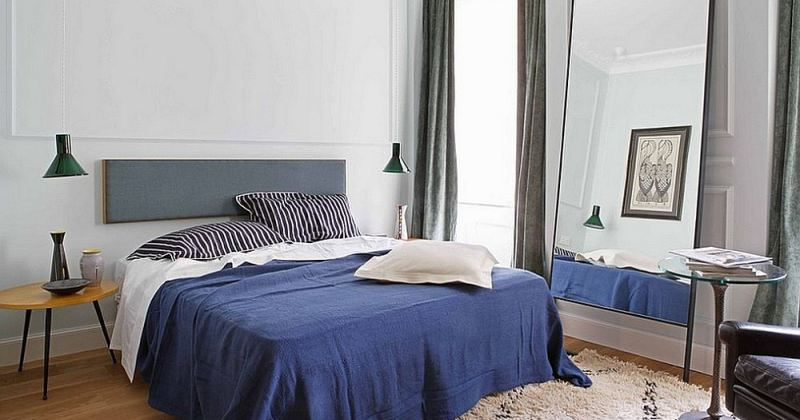 Blue white and grey bedroom
