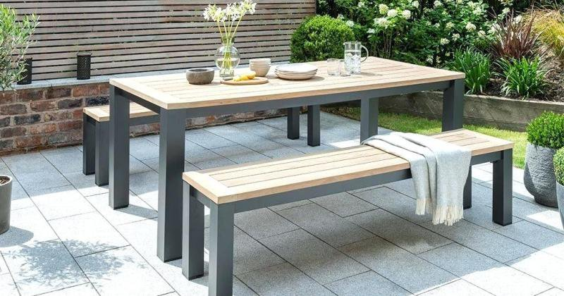 Casuarina timber outdoor bench dining set