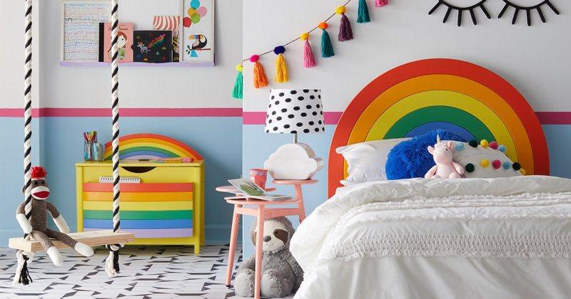 Children's rainbow bedroom accessories