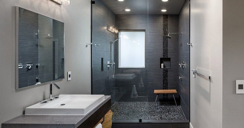 Clean lined bathroom design