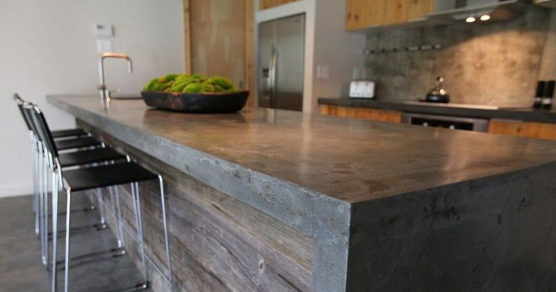 Concrete countertop kitchen island