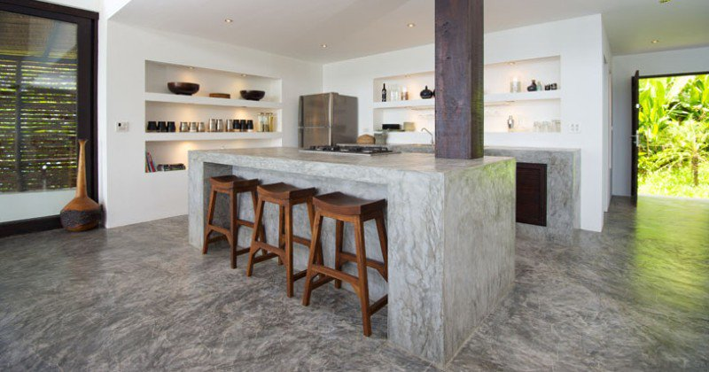 Concrete slab kitchen countertop