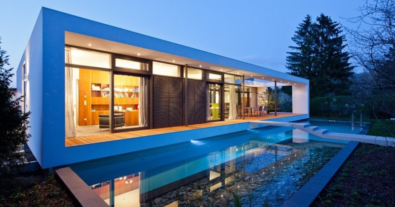 Contemporary house plans with pool