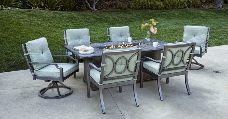 Fire pit dining table with chairs