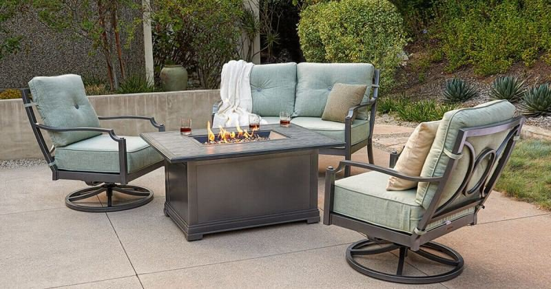 Fire pit sets with swivel chairs