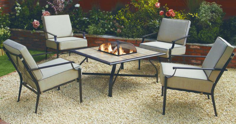 Fire pit table and chairs the range